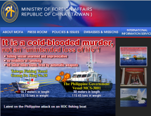 Screenshot of ROC's Ministry of Foreign Affairs homepage (Accessed on 20 May 2013)
