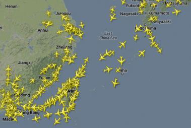 Air traffic between China, Taiwan, Korea and Japan, 27 November 2013, 1 p.m. UK (GMT) time (screenshot from http://www.flightradar24.com/ )