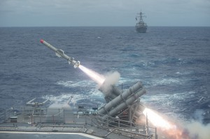 Harpoon anti-ship missile is launched from the Ticonderoga-class guided-missile cruiser USS Shiloh (CG 67) during a live-fire exercise. Shilih is part of Japan-based Carrier Strike Group Five. Taiwan and Japan also posses Harpoon ASMs. Image Credit: CC BY 2.0 Official U.S. Navy Page/Flickr.