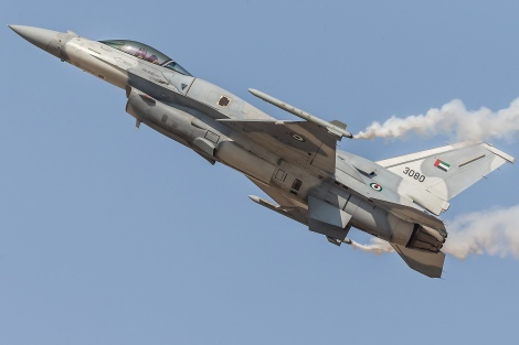 F-16E of United Arabian Emirates Air Forces during Dubai Air Show 2013. F-16E is the latest upgrade of F-16 in service. Taiwan's upgrade would give ROCAF similar capability. Image Credit: CC by Alexander Babashov/Flickr.