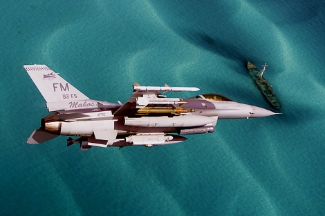 482nd Fighter Wing / 93rd Fighter Squadron Lockheed F-16C Fighting Falcon carrying an AIM-120, and AIM-9 air-to-air missiles, a single GBU-12 and a Lighting Targeting pod. Image Credit: CC by Matt Morgan/Flickr.