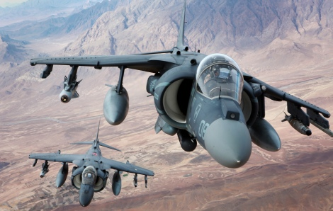 Two AV-8B Harrier II fly over southern Helmand province, Afghanistan after conducting an aerial refuel Dec. 6, 2012. VMA-231 deployed to Afghanistan to provide close air support for counter-insurgency operations. Image Credit: CC by Marines/Flickr.
