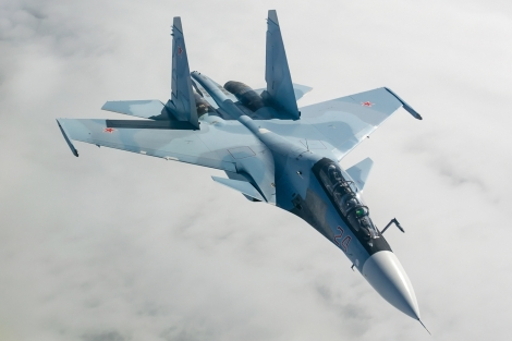 Sukhoi Su-30SM of Russian Air Force. Chinese air force acquired total of 73 in export variant Su-30MKK. PLA's military modernization is supported by significant investment in cyber warfare capability. Image Credit: Wikimedia Commons.