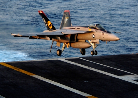 An F/A-18E Super Hornet assigned to the