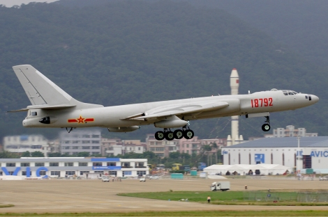 People's Liberation Army Air Force Xian HY-6 at Zhuhai Airshow . HY-6 is a air-refuelling version of China's principal strategic bomber capable of carrying land-attack/anti-ship cruise missiles. Image Credit: CC by Li Pang/Wikimedia Commons.