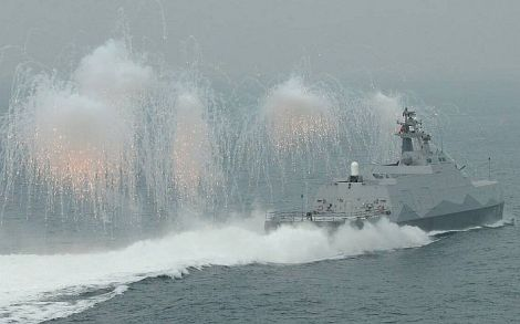 Tuo Jiang (PG-618) missile corvette is releasing electronic counter-measures during trials. Image Credit: Ministry of National Defense of the Republic of China (Taiwan).